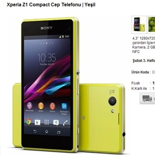 Sony Z1 Compact Türkiye Fiyatı Belirlendi !