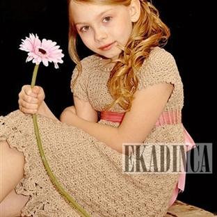 Tığ İşi Çocuk Örgü Elbise Modelleri 2014