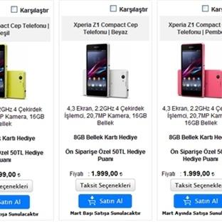 Xperia Z1 Compact 'ın Fiyatına Zam Geldi !