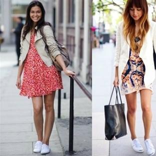 2014 yazının son modası beyaz spor ayakkabılar