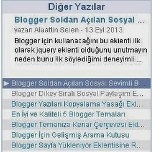 Blogger En Son Yazılar Eklentisi