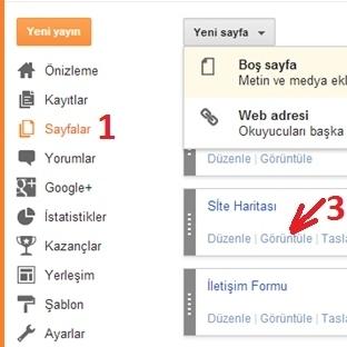 Blogger sitemap ayarları