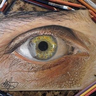 Hiperreal Kuru Boya Göz Çizimleri
