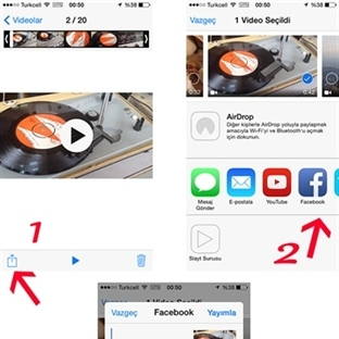 iPhone'la Facebook'a Video Yüklemek