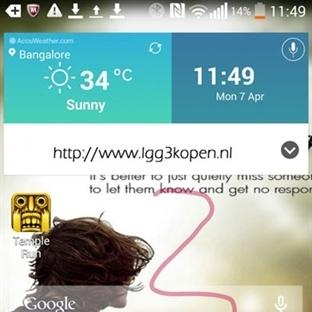 LG G3′ten ilk ekran görüntüleri!