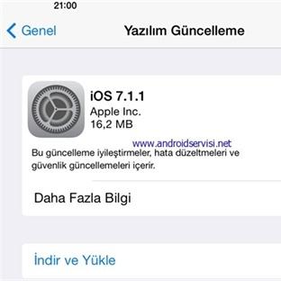 İOS 7.1.1 Güncellemesi Çıktı