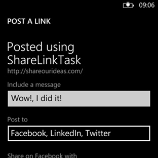 Windows Phone Link ve Status Paylasım Taskleri