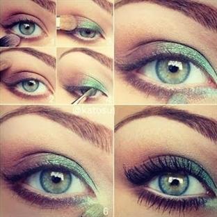 Metalik Yeşil Göz Makyajı Resimli Anlatım