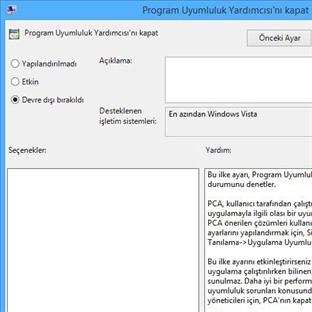 Windows 8 Program Uyumluluk Yardımcısını Kapatma