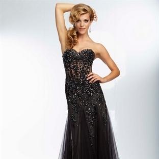 Yeni Siyah Uzun Abiye Modelleri 2014