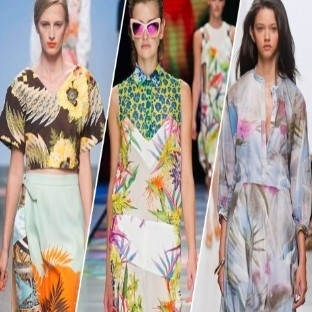 2014 Moda Trendi Tropikal Desenli Elbiseler