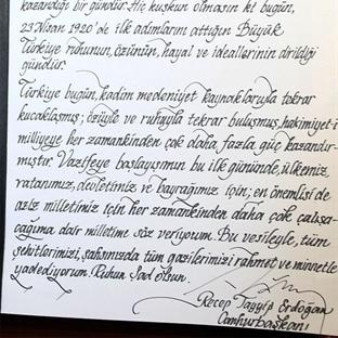 Erdoğan Anıtkabir Özel Defterine Ne Yazdı?