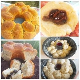 kek kalıbında zeytinli balon ekmek