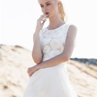 Krem Rengi Yazlık Nişan Elbise Modelleri