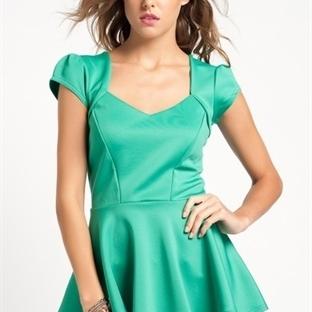 Yeşil Bayan Yazık Bluz Modelleri