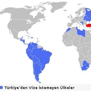 2014′te Türkiye'den Vize İstemeyen Ülkeler