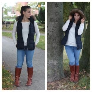 Herbstlook mit Weste und Stiefel