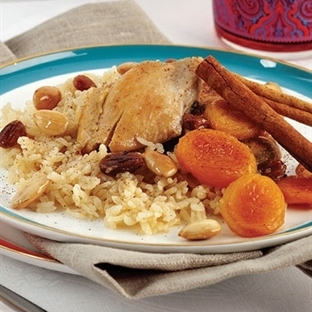Pirinçli ve ballı tavuk eti