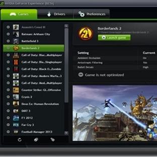 NVIDIA GeForce Experience Kişisel Oyun Sürücüleri