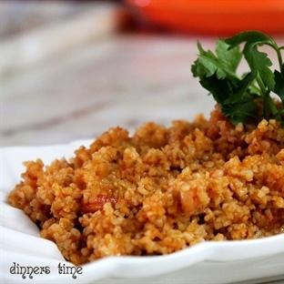 Köz Patlıcanlı ve Biberli Bulgur Pilavı