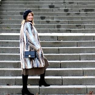 Faux fur coat, black beret and Miu Miu bag