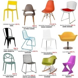 Yemek Alanları İçin Rengarenk, Modern Sandalyeler
