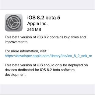 Geliştiriciler için iOS 8.2 Beta 5 Yayınlandı
