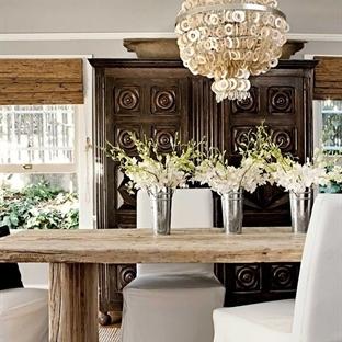 Rustik yemek odası dekorasyonu