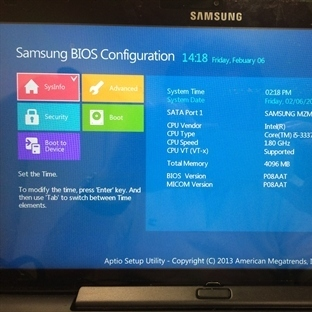 Samsung ATIV Smart PC Pro 700T Tablet Bios Ayarı