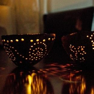 Hindistan cevizi kabuklarından tealight