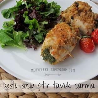 Pesto Soslu Çıtır Tavuk Sarma