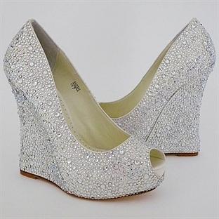 Dolgu Topuklu Gelin Ayakkabıları