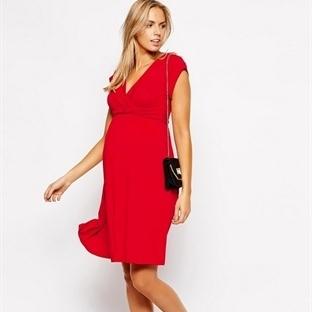 Elma Şekeri Renginde Kırmızı Elbise Kombinleri
