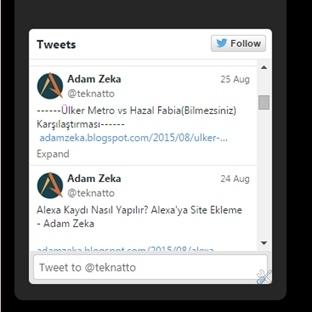Sitenizde Attığınız Son Tweetleri Göstermek
