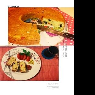 Peynirli, Zeytinli, Kırmızı Biberli Kek: Tuzlu Kek