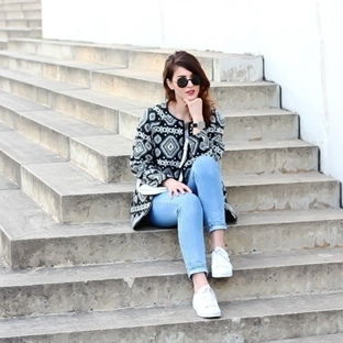 Aztec Coat and Mom Jeans