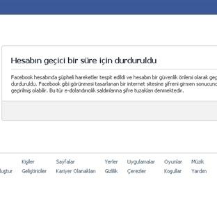 Facebook Hesabınız Geçici Olarak Kilitlendi