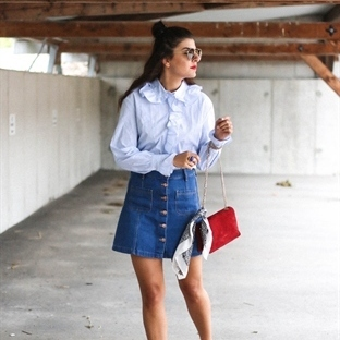 Frilled Shirt, Button Up Denim Skirt