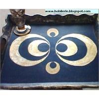 Osmanlı Desenli Altın Varak Uygulanmış Tepsi
