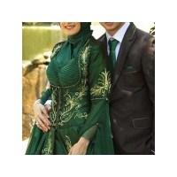 2014 Yeşil Tesettür Nişanlık Ve Abiye Modelleri
