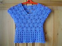 Mavi Çiçek Motifli Yazlık Kız Çocuk Bluzu Modeli