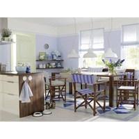 Açık Mavi Ve Ceviz Mutfak