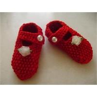 Şirin Kırmızı Bebek Patiği