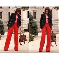 Kırmızı Pantolon Kombini