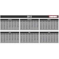2012 Yılı Excel Takvimi