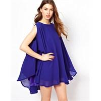 Sak Mavi Elbiseler Yeniden Özel Gecelerde Moda