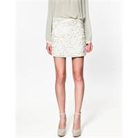 Zara 2012 Bahar/ Yaz Beyaz Pullu Etek