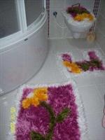 Sakallı İple Yapılmış Banyo Ve Klozet Takımı Örgü