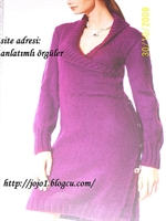 Krovize Yakalı Örgü Elbise