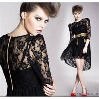 Siyah Dantel Kollu Elbise Modelleri 2014